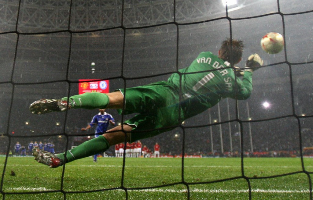 Manchester United's Dutch goalkeeper Edwin van der Sar saves a penalty by Chelsea's French forward Nicolas Anelka to win the final of the UEFA Champions League football match at the Luzhniki stadium in Moscow on May 21, 2008. The match remained at a 1-1 draw and Manchester won on penalties. AFP PHOTO / Franck Fife (Photo credit should read FRANCK FIFE/AFP/Getty Images)