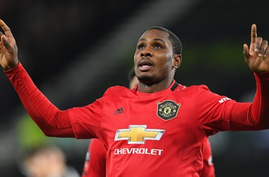 Odion Ighalo (25) of Manchester United celebrates after scoring a goal to make it 0-2 during the FA Cup match between Derby County and Manchester United at the Pride Park, Derby, England on 5th March 2020. (Photo by Jon Hobley/MI News/NurPhoto)