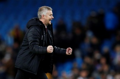 "Soccer Football - Premier League - Manchester City v Manchester United - Etihad Stadium, Manchester, Britain - December 7, 2019  Manchester United manager Ole Gunnar Solskjaer celebrates after the match           Action Images via Reuters/Jason Cairnduff  EDITORIAL USE ONLY. No use with unauthorized audio, video, data, fixture lists, club/league logos or ""live"" services. Online in-match use limited to 75 images, no video emulation. No use in betting, games or single club/league/player publications.  Please contact your account representative for further details."