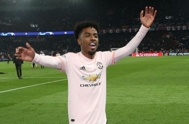 PARIS, FRANCE - MARCH 06: Angel Gomes of Manchester United celebrates at the final whistle during the UEFA Champions League Round of 16 Second Leg match between Paris Saint-Germain and Manchester United at Parc des Princes on March 06, 2019 in Paris, . (Photo by John Peters/Man Utd via Getty Images)