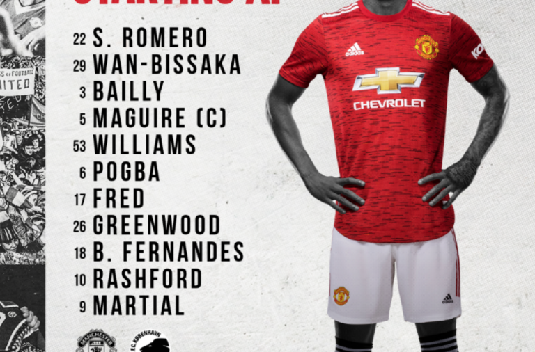 CONFIRMED LINE-UP: United vs Copenhagen – Romero starts