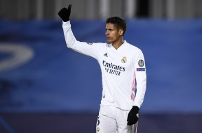 ESTADIO ALFREDO DI STEFANO, MADRID, SPAIN - 2021/03/16: Raphael Varane of Real Madrid CF gestures during the UEFA Champions League Round of 16 second leg football match between Real Madrid CF and Atalanta BC. Real Madrid CF won 3-1 over Atalanta BC. (Photo by Nicolò Campo/LightRocket via Getty Images)